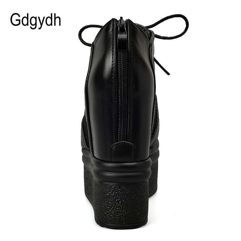 Gdgydh Yaz Ayakkabı Kadın Platformu Takozlar Çizmeler Peep Toe Lace Up 2019 Yeni Bahar Yaz Çizmeler Yüksek Topuklu Fermuar Damla kargo