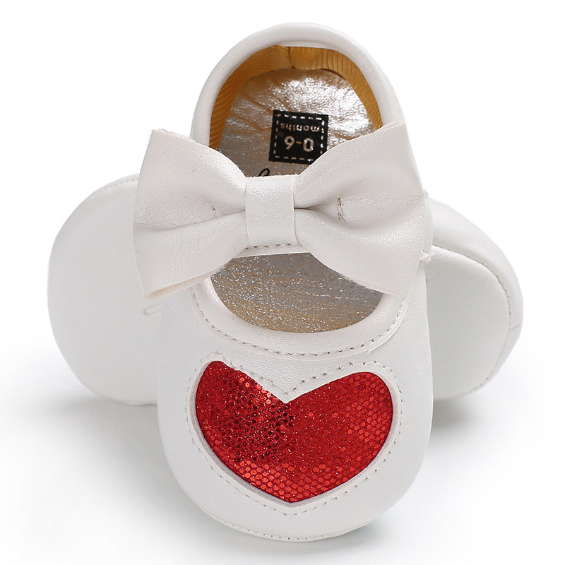 Bowknot Baby Shoes Girls Soft Bottom Fashion Toddler Baby Moccasins Heart-Print Newborn Shoes PU Leather Prewalkers Footwear