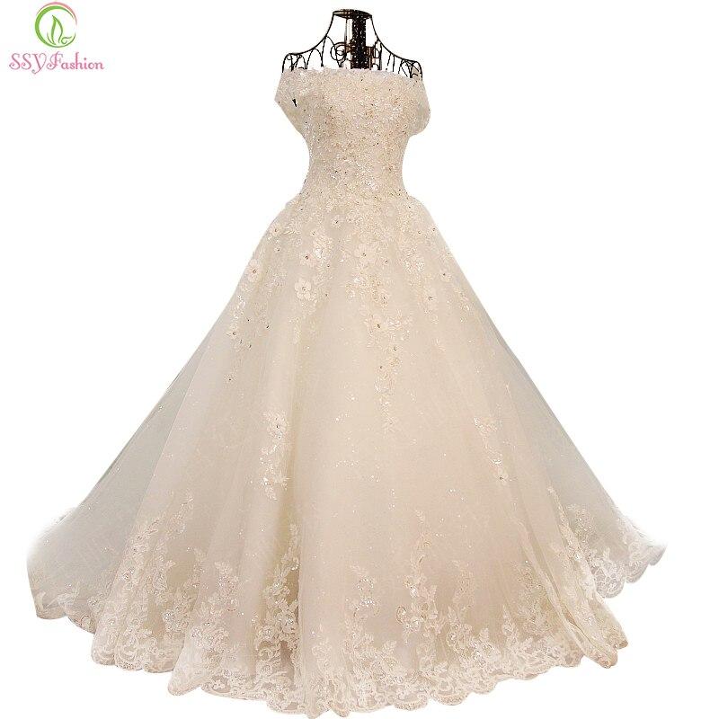 SSYFashion 2017 Robes Dentelle Fleur Cristal Perles A-ligne De Robe De Mariage La Mariée Princesse Romantique Banquet Longue Robe Formelle