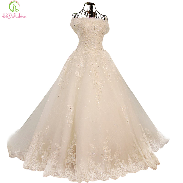 SSYFashion Vestidos Lace Flower Crystal Beading A-line Wedding Dress The Bride Princess Romantic Banquet Long Formal Dress