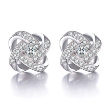 100% 925 sterling silver fashion flower shiny crystal ladies' stud earrings women