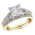 EDI Благородный Priness Cut Имитация Кольцо С Бриллиантом Для Женщин 14 К 585 Желтое Золото Обручальное Юбилейные Наборы Кольцо Рождество подарок