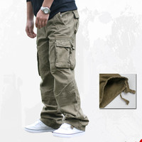 Spring Autumn Outdoor Army Military Tactical Cargo Pants Male Climbing Sports Camping Pockets Loose Baggy Overalls