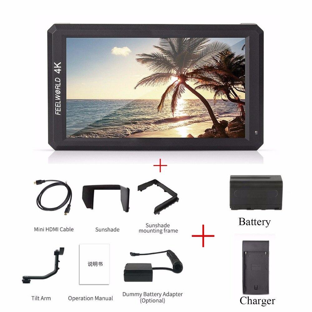 Feelworld F6 5.7 IPS 4 K HDMI Moniteur + NP-F750 Batterie + Chargeur + Tilt Bras pour DSLR ou Mirrorless Caméra Cardan Peut Alimenter pour DSLR