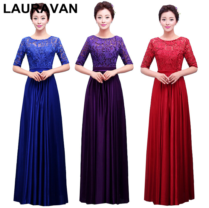 formal hlaf lace sleeve real sample blue women   bridesmaid     dresses   o neck purple blue 2019 sexy   dress   long with sleeves gown