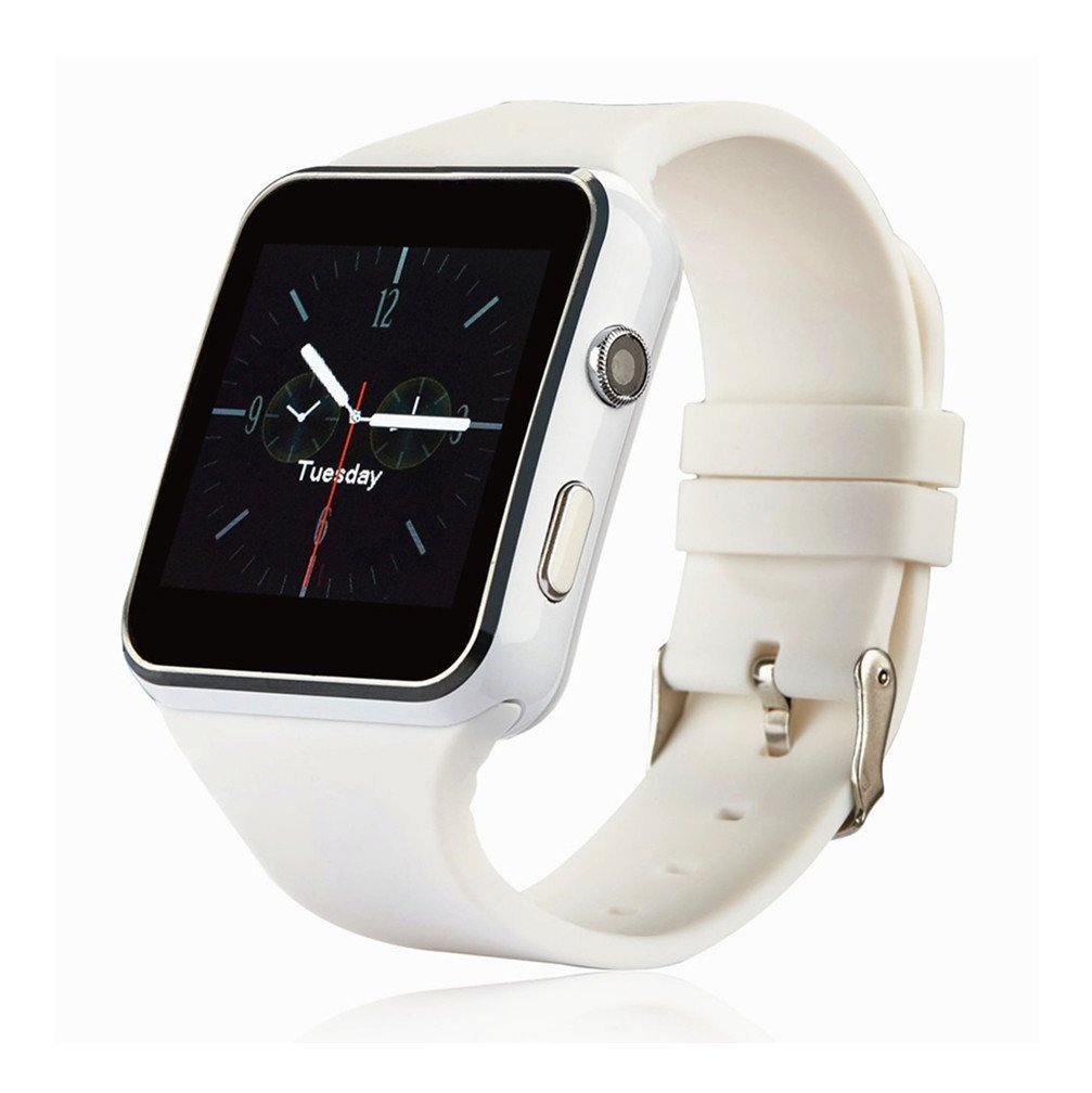 Bluetooth Smart Watch Unlocked Watch Phone Call Text Touch Screen Camera Notification Sync for Android IOS Black White X6 excelvan p1 smart watch android bluetooth unlocked sim phone watch sync call music reminder relogios anti lost wearable devices
