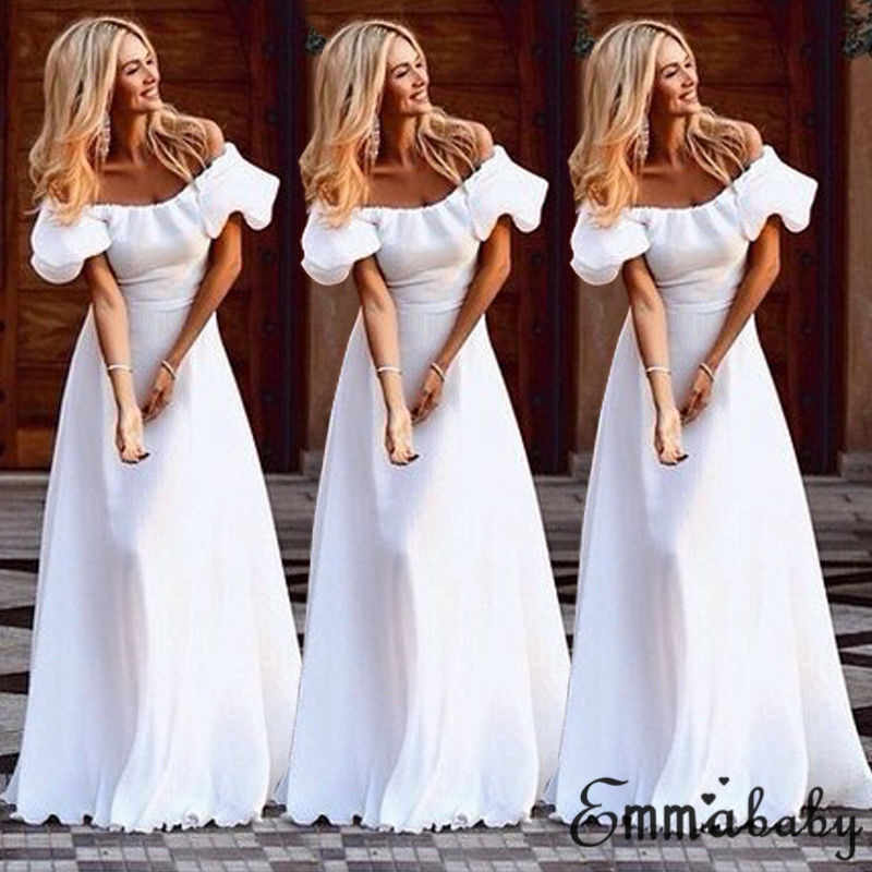 5a7a4deb58eb4 2018 Fashion Boho Womens Holiday Off Shoulder White Floral Maxi Ladies  Summer Beach Party Sexy Dress