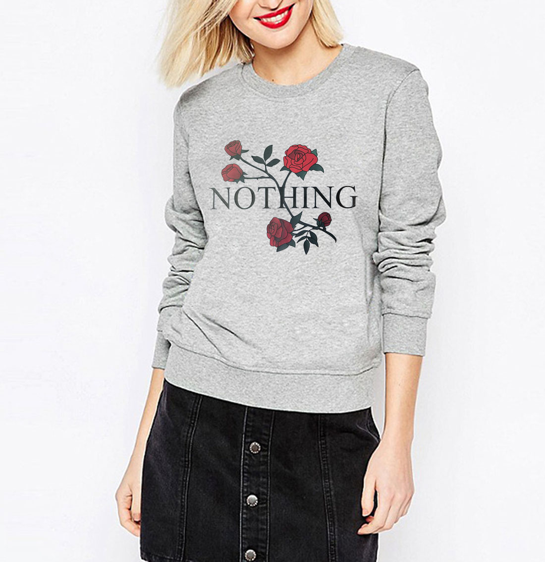 new arrival funny Nothing Letter Print sweatshirt kawaii Rose printing hoodies women 17 autumn winter casual fleece tracksuits 3