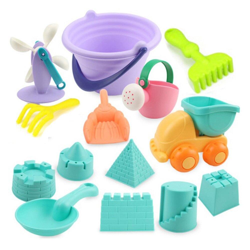 Hot 14Pcs/set Beach Sand Toys Soft Rubber Beach Bucket Playset Fun Toys Gift For Kids Summer Outdoor Fun Drop Ship -Random Color