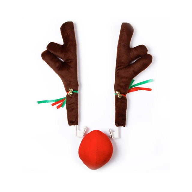 ce3519a6f 1 set Rudolf Reindeer Christmas Car Decor Horn and Red Nose Cute Vehicle  Nose Horn Costume Set Christmas Supplies