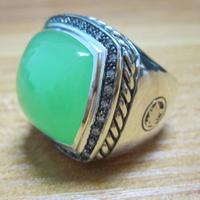 Твердые Стерлинговое серебро ювелирные изделия 20 мм Халцедон Цвета Аква лунный свет ледяное кольцо дизайн Серебряное украшение с драгоцен