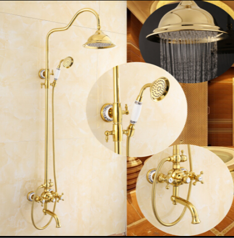 Free shipping brass golden/gold plating bath & shower mixer set,shower faucet,rainfall shower set,bathroom tap