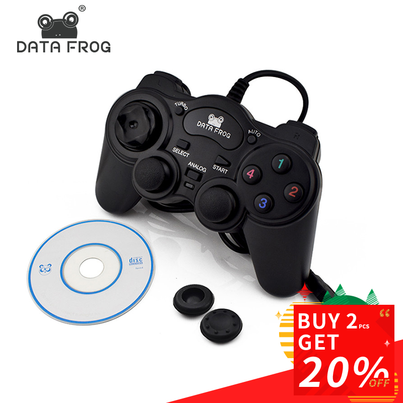 HOT Wired USB 2.0 Negro Gamepad Joystick Joypad Gamepad Controlador de juegos para PC Ordenador portátil para Win7 / 8/10 XP / Para Vista
