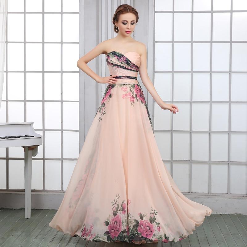 LanDuoer 2017 Diseño Patrón de Flores de Gasa Vestidos de Baile Del ...