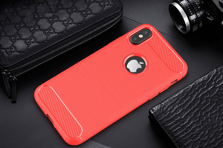 TOMKAS Phone Case Carbon Fiber Cover For iPhone XS Plus X 2018 5.8 6.1 6.5 Inch Soft TPU Silicon Case Protective Back Cover 2018 (14)