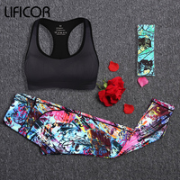Women Yoga Sport Sets Gym Workout Sportswear Suit Elastic Running Workout Headband+Bra+Printed Leggings Suits Sports Clothing