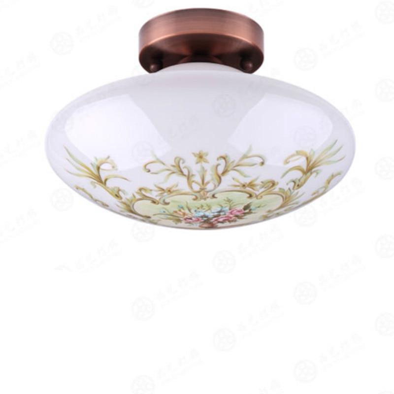 ФОТО Classical Exotic Retro Elegant Hand Painted Glass Led E27 Ceiling Light For Living Room Aisle Balcony Deco Dia 25cm 80-265v 2047