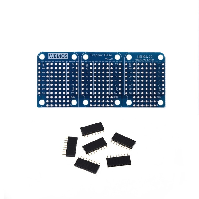 Tripler Base V1.0.0 Module Board with Pins D1 Mini Active Components Integrated Circuits