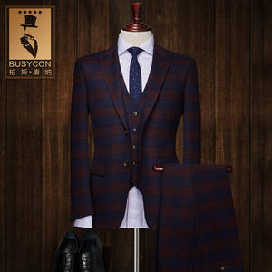 brown blue plaid wedding suits for men costume homme mariage 2018 ( Jacket +Pants )