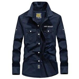 Image 3 - Koszula męska z długim rękawem camisa społeczne wojskowe 100% bawełniane koszule marki wiosna jesień armia skręcić w dół kołnierz 4xl koszule odzież