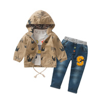 Anlencool 2017 new spring High quality brand Children Suit loaded Crown suit fashion boys three piece baby clothing set
