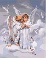 Mahuaf-w988 Ангел пожелания поцелуи и мечты живописи по номерам Куадрос Decoracion Wall Art Decor картинки для гостиной