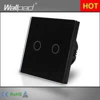 Luxury Wallpad EU UK Standard 110 220V LED Indicator Black 2 Gang 1 Way Touch On