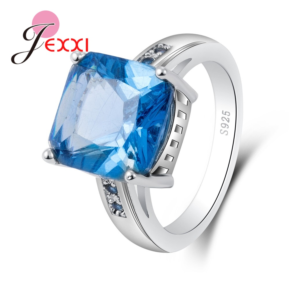 Big Shinning Blue Square Cubic Zirconia 100% 925 Sterling Silver Rings Elegant Design Wonderful Anniversary Jewelry