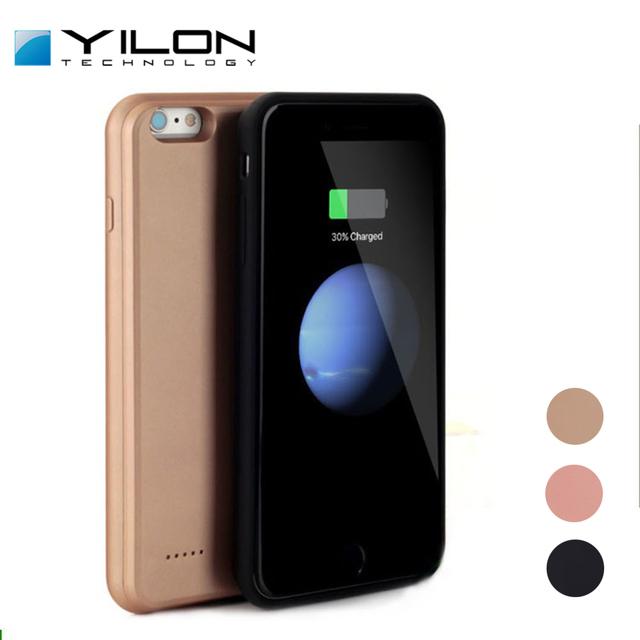 Yilon moda de alimentación caja de batería para iphone 6 6 s 6 plus 7 7 más banco de energía de respaldo para iphone 7 batería del teléfono de silicona suave caso