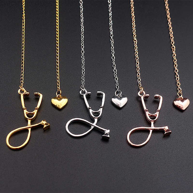 Stethoscope Necklace Heart Pendant 3 Colors Rose Gold/Gold/Silver Nurse Medical Necklace Collares Bijoux Femme Jewelry