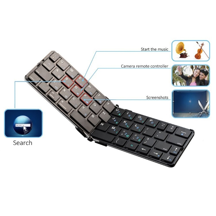 ФОТО Flyshark Foldable Wireless Bluetooth Keyboard Full Size Mini Utra-Thin Lightweight in English/French/German/Spanish Layout