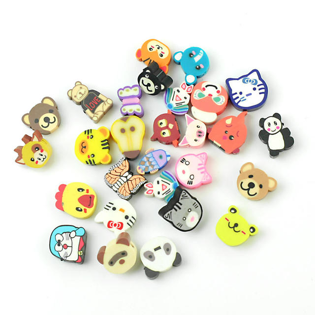 100pcs lot mixed colors cute animal design fimo polymer clay loose spacer beads slices charms. Black Bedroom Furniture Sets. Home Design Ideas