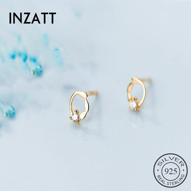 INZATT Real 925 Sterling Silver MInimalist Zircon Round Stud Earrings For Fashion Women Party Fine Jewelry 2019 Accessories Gift