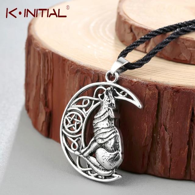 Kinitial animal wolf celtic moon viking dog necklace pendant kinitial animal wolf celtic moon viking dog necklace pendant valknut odin s symbol of aloadofball Image collections
