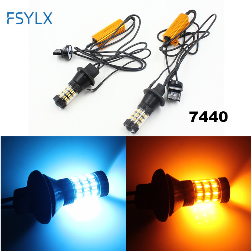 FSYLX Error Free Canbus T20 7440 WY21W LED Bulb for Toyota/kia Car Reverse Switchback Turn Signal Light DRL blue+Amber/Yellow error free ba9s socket 360 degrees projector lens led backup reverse light r5 chips replacement bulb for peugeot 3008