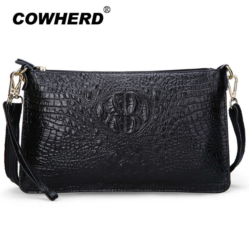 2018 Hot Genuine Leather Women Bag Fashion Female Purse Party Evening Clutch Alligator Handbags Messenger Shoulder Bags Bolsos women handbags new fashion pu leather party clutch bags soft fold over phone purse lady shoulder bag superfine messenger bag