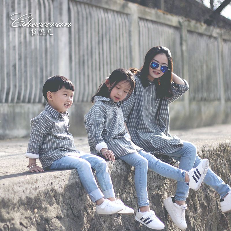 Sunfed family fashion 2016 mother and child clothes for mother and daughter fluid long-sleeve stripe shirt family patchwork shirts summer fashion mother and child clothes daughter short sleeve shirt son striped tops kids good outerwear