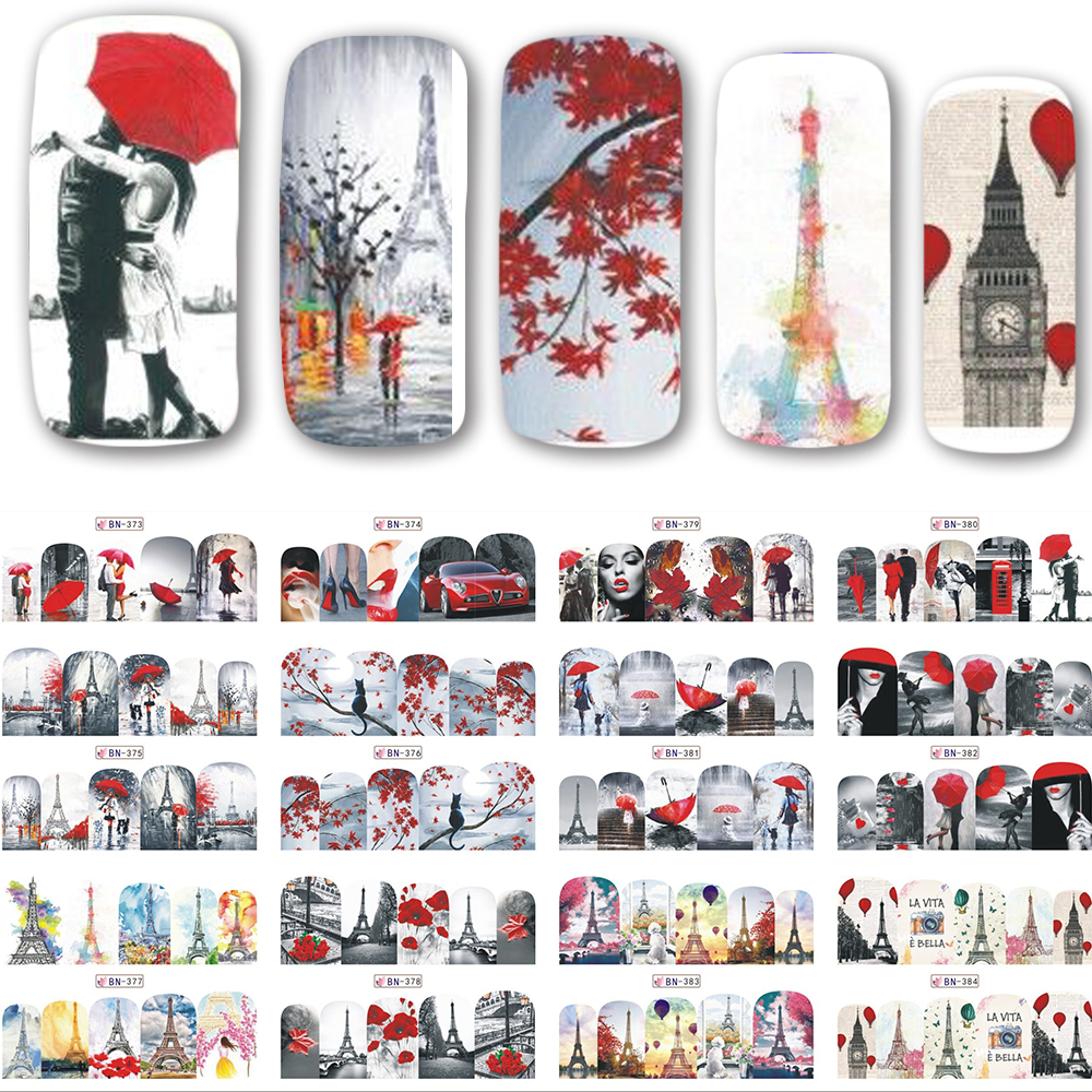 12 Designs/set New Decals Nail Art Water Romantic Red Beauty Lady Transfer Stickers Full Wraps Nail Tips Decoration SABN373-384 ds300 2016 new water transfer stickers for nails beauty harajuku blue totem decoration nail wraps sticker fingernails decals