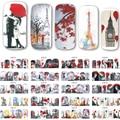 12 Projetos/set Novo Decalques Adesivos de Transferência de Água Da Arte do Prego Vermelho Romântico Beleza Senhora Completa Wraps Unhas Dicas de Decoração BN373-384