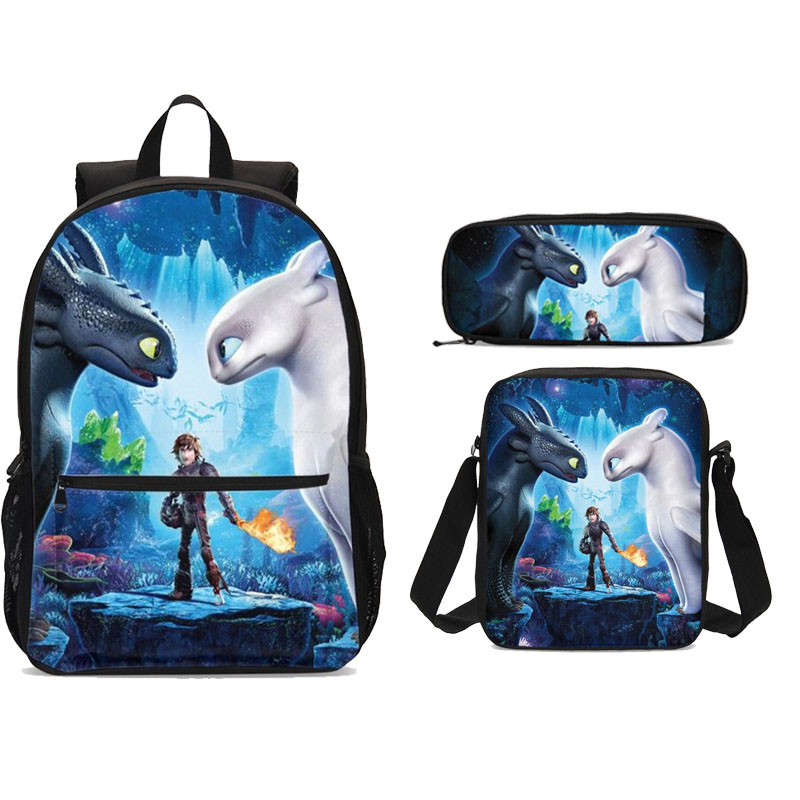Cartoon How To Train Your Dragon 3 3pcs Set Backpack Women Canvas Bookbags School Bags For