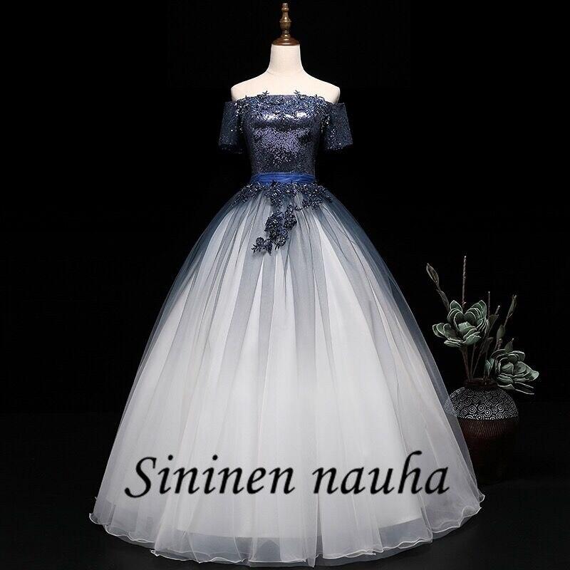 Bleu marine Quinceanera robes avec manches hors De l'épaule Sequin perlée robe De bal Vestidos De 15 Anos doux 16 robes 310