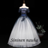 Navy Blue Quinceanera Dresses with Sleeves Off The Shoulder Sequin Beaded Ball Gown Vestidos De 15 Anos Sweet 16 Dresses 310