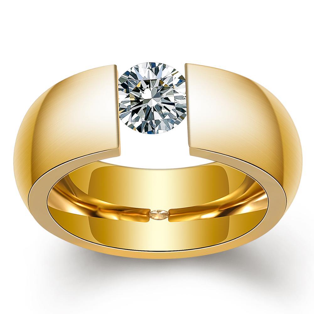 Gold-Color 316L Stainless steel Wedding Rings for Women Men 1