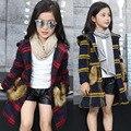 Chica otoño bolsillo de la chaqueta de lana 2016 nuevo invierno de los niños ropa de bebé chaqueta con capucha para niños 5-8-10 edad adolescentes ropa