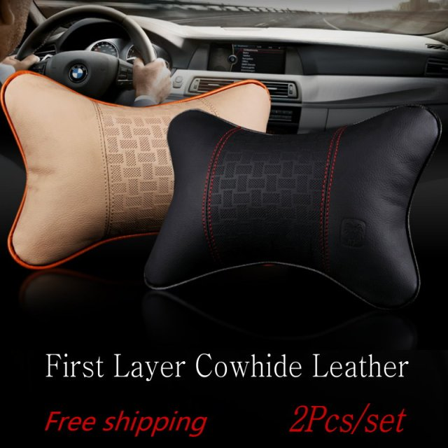 For BMW Hot Selling car head pillow / Cowhide Neck Pillow / Car Bone pillow / The classic black Car Neck Auto Safety Pillow