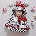 Winter Jacket Girls Child Cotton-padded Coat Parkas Fashion Cute Lattice Bow Hooded Toddler Girls Jackets Baby Girls Outerwear