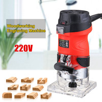 220V 600W Electric Laminate Edge Trimmer Mini Wood Router 6.35mm Collet Carving Machine Carpentry Woodworking Power Tools