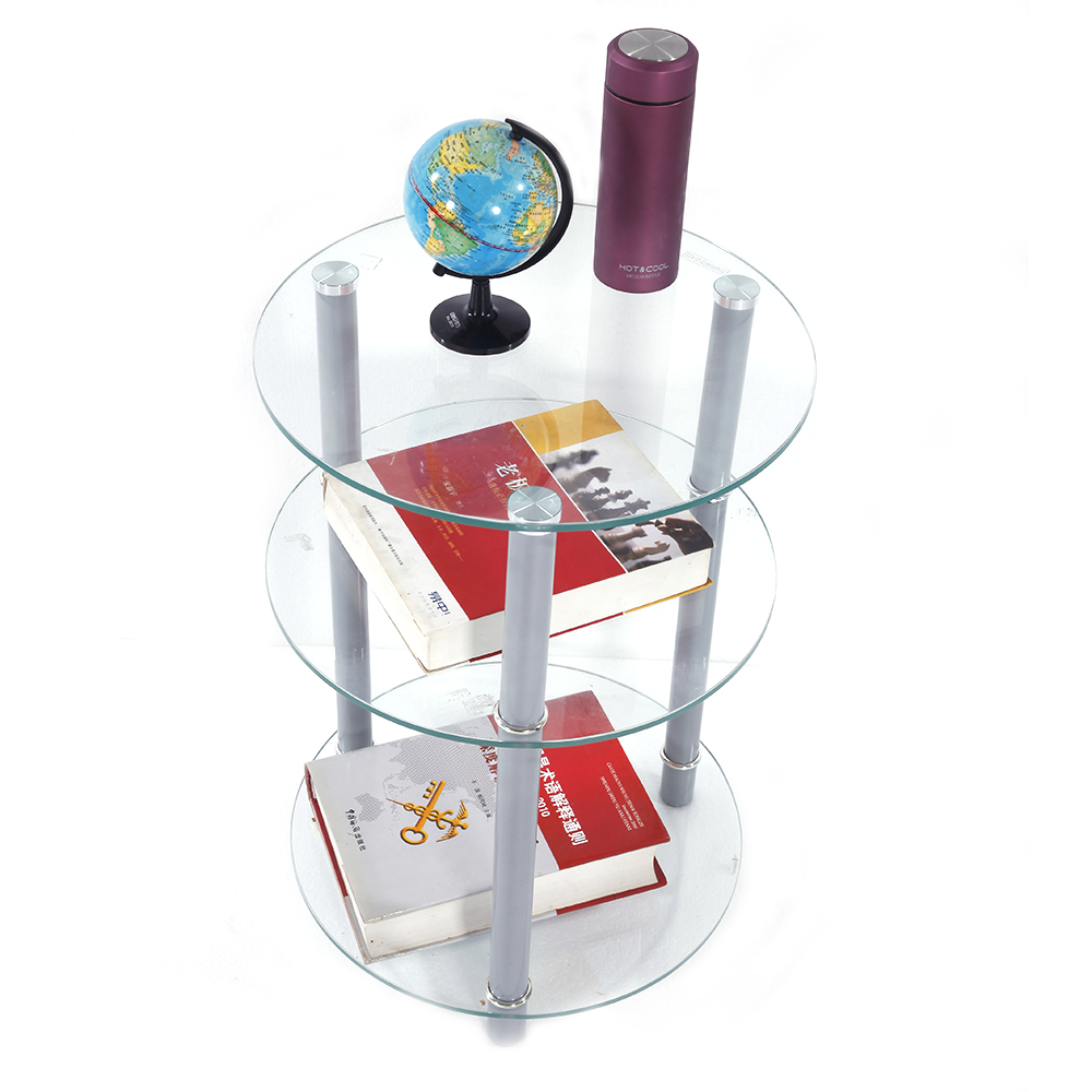 Exquisite Three Tiers Round Tempered Glass Side Table End Table Dropshipping