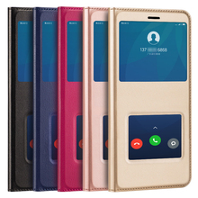 Купить с кэшбэком For Xiaomi Mi 5 5C 6 6X Note 3 Case Luxury 360 Full PU Leather Magnetic Adsorption View Window Cover For Redmi 4X 4A 5 5A 5 Plus