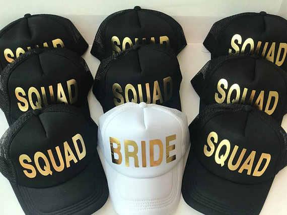 963fa45e6a5 customized Bride Squad Bridesmaid Hen Party Half Mesh Baseball Trucker  Rapper Cap Hat Bachelorette wedding Bridal